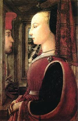 Filippo Lippi: Ritratto di donna con un uomo al davanzale