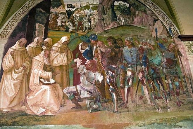 """Luca Signorelli: """"Storie di San Benedetto"""" - San Benedetto scopre l'inganno di re Totila"""