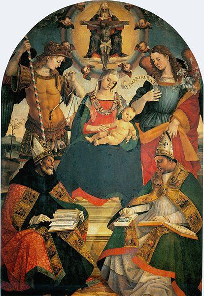 Madonna della Trinità, la Trinità, sant'Agostino e sant'Atanasio d'Alessandria