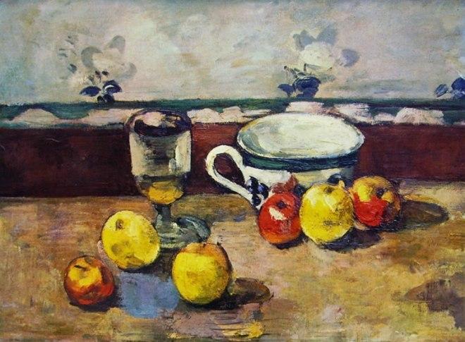 Paul Cezanne: Natura morta con bicchiere tazza e mele