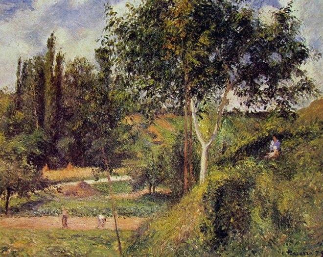 Camille Pissarro: Il Fond de Saint-Antoine - paesaggio a Pontoise