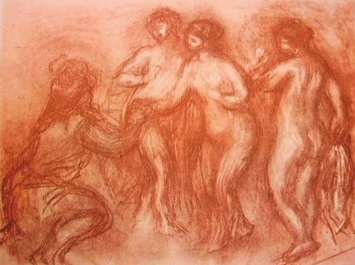 Renoir - Il giudizio di Paride, tecnica sanguigna e gesso bianco