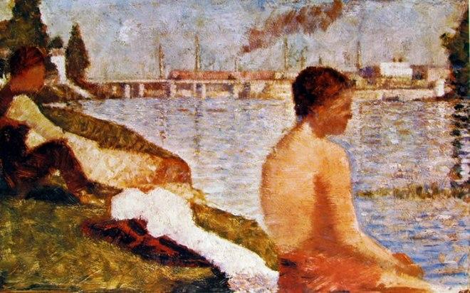 Georges-Pierre Seurat: Bagnante seduto in riva alla Senna