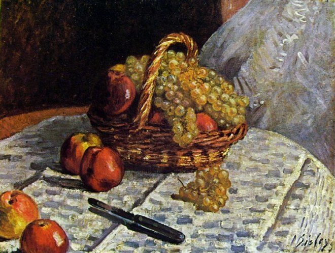 Alfred Sisley: Natura morta - mele e uva -