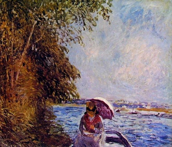 Alfred Sisley: In barca a Veneux. Pomeriggio di Settembre