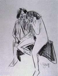 Due ragazze nude sedute
