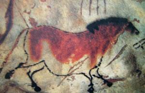 Cavallo, 15000-10000 a.C. nella caverna di Lascaux in Francia