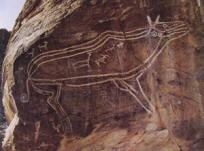Figura di animale e cacciatore con bovidi, cervi e stambecchi, VI-iV millennio a.C. Cueva de la Veja, Spagna