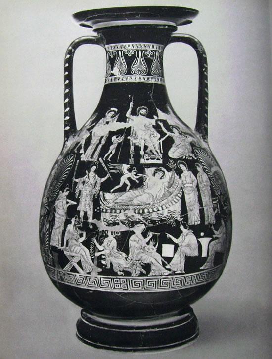 Pelike apula: La disputa di Adone tra Persefone ed Afrodite con la presenza di Zeus seduto nel trono