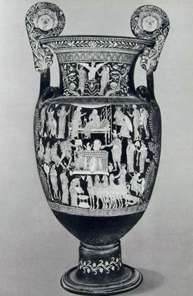 Pittore di Dario: Cratere a volute con scene della guerra di Troia