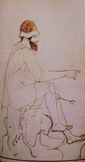 Pittore della Fiala: Ekythos a sfondo bianco: Particolare di Ermete
