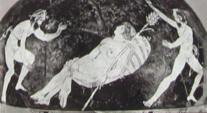 Oinochoe: Particolare della scena di Menade addormentata