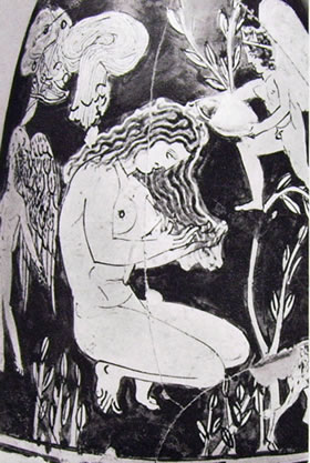 laboratorio del Pittore di Midia: la toilette campestre di Afrodite -Ninfa