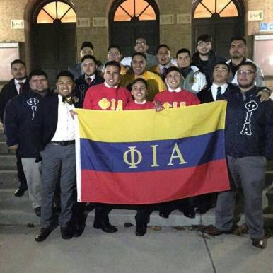 The Phi Iota Alpha Colony at SIUC on the steps of Shryock Auditorium
