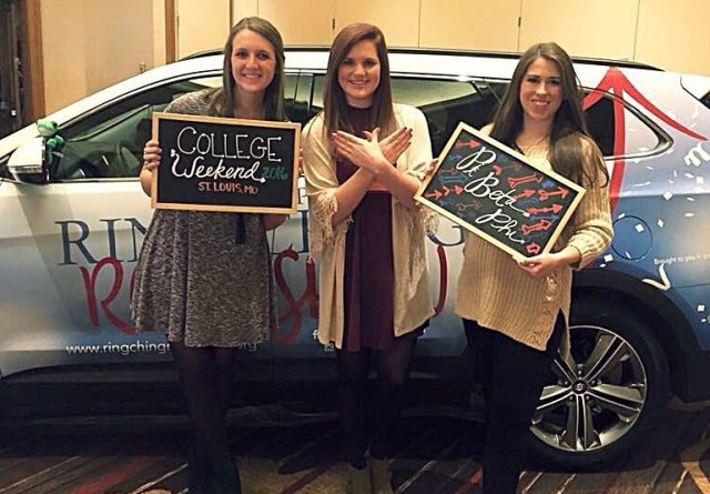 My Missisissippi Alpha friends in front of Libbie the Ring Ching Road Show car.