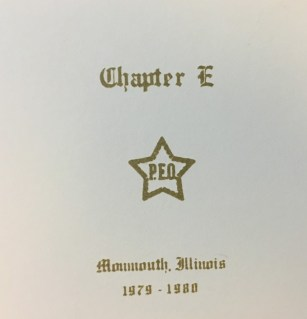 Among the things I found last week while cleaning out the P.E.O. chapter treasurers box, in preparation for finally handing that office over to someone else, I found this yearbook from Chapter E. Monmouth, IL. I think I put it in the treasurers box after finding it in the Presidents files when I turned them over about 10 years ago.