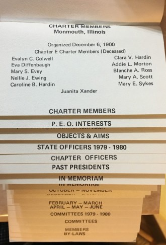 The inside of the Chapter E yearbook. Blanche A. Ross is listed as a charter member of the chapter.