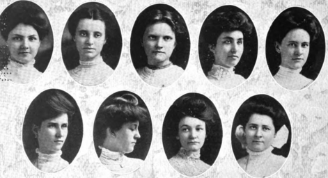 The charter members of the Zeta Chapter of Sigma Kappa. One of these women is Ellen Bertha