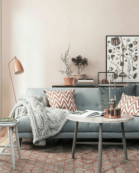 DIY Room on a Budget – Warm Pink and Slate Grey Living Room