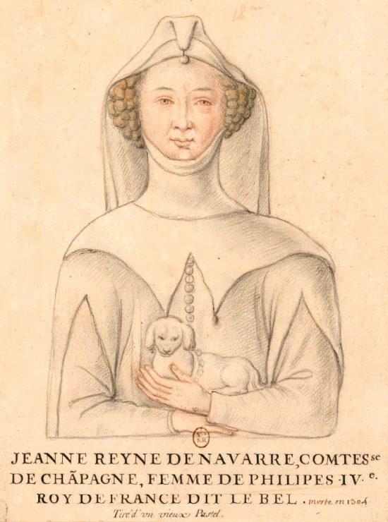Jeanne Ière, reine de Navarre et comtesse de Champagne. Dessin du début du XVIIe siècle