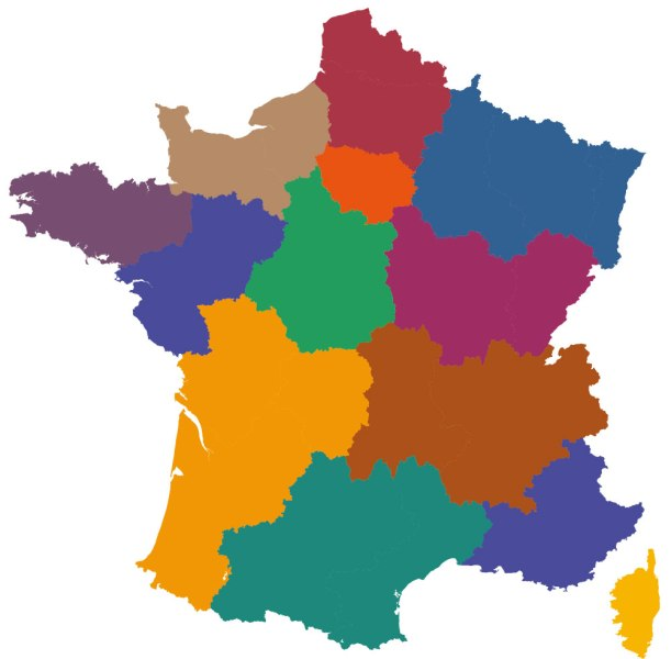 Maps of the regions of France Filled in map of regions  Click here to download the full sized version