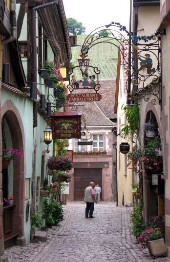 Wrought-iron signwork in Riquewihr, France