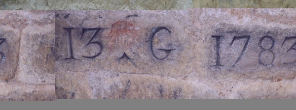 One of many of Guillaumot's marks on the wall.