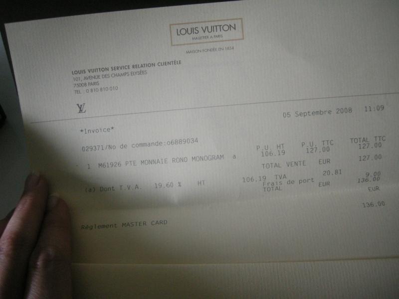 Troc Echange Porte Monnaie LOUIS VUITTON Avec FACTURE NEUF