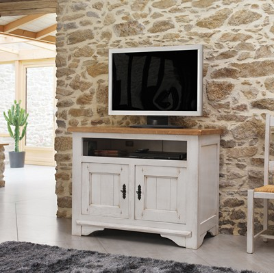 meuble tv 100 chene blanchi