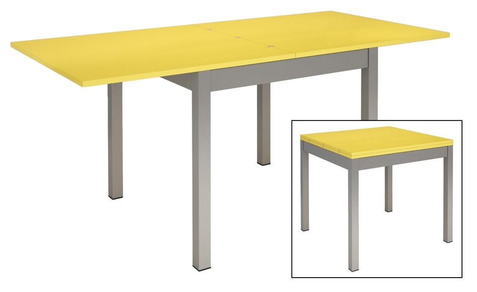 table de cuisine avec 4 pieds en metal plateau a rallonges en couleur prix pas cher