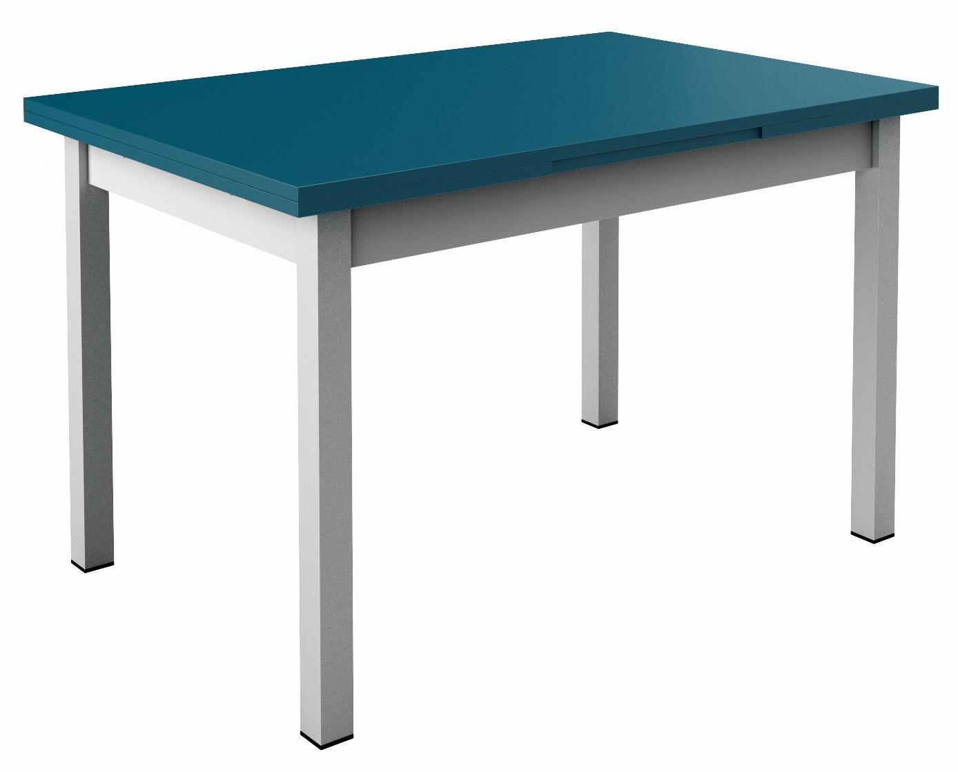 table de cuisine bleue a rallonges choix de coloris fabrication francaise de qualite