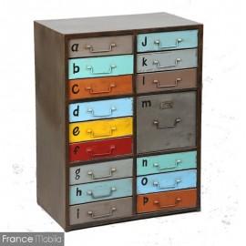 meuble de rangement en metal tiroir metal decore multicolore 16 tiroirs a poignees