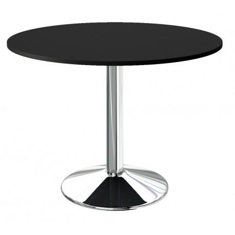 table de cuisine plateau noir pied central chrome a prix remise
