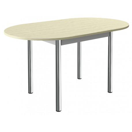 table ovale de cuisine a rallonge centrale et pieds ronds chromes
