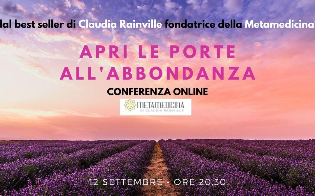 Metamedicina® conferenza online APRI LE PORTE ALL'ABBONDANZA – 12 settembre 2019