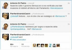 tweet dibattito tra Casini e Di Pietro