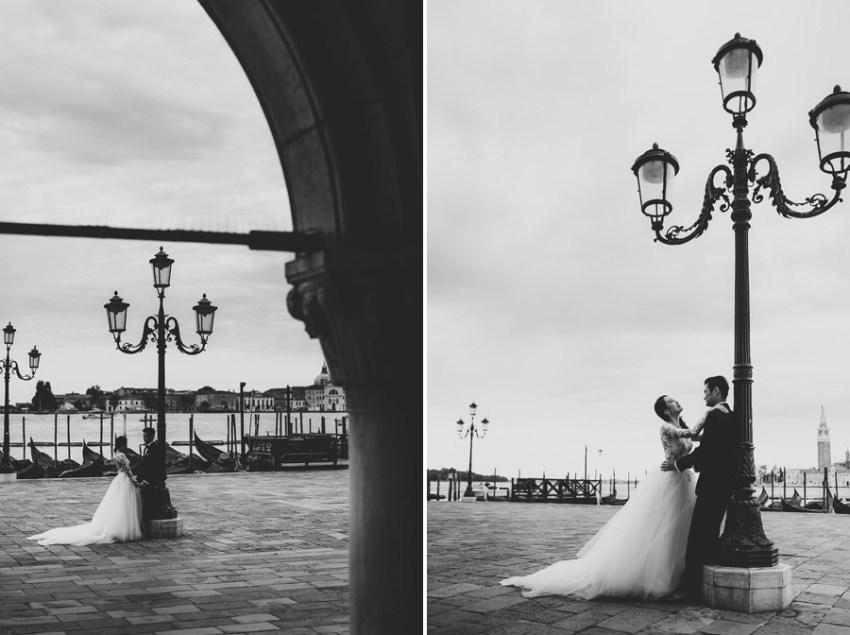 venice wedding photographer / sunrise pre wedding / bride + Groom in Piazza san Marco