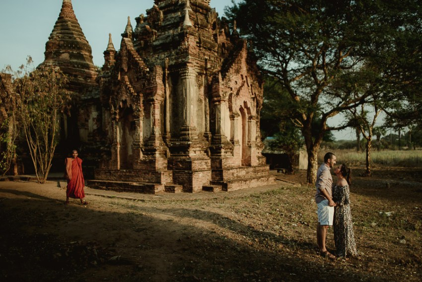 Myanmar engagement photography Bagan couple with monch
