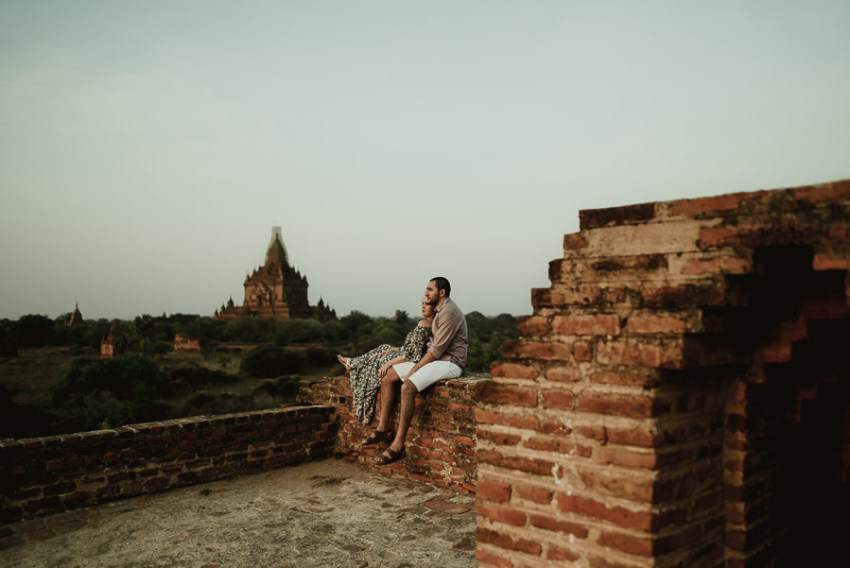 Myanmar engagement photography Bagan couple on temple rooftop