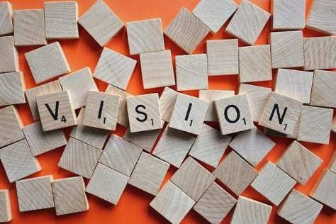 The word vision spelled out with Scrabble pieces
