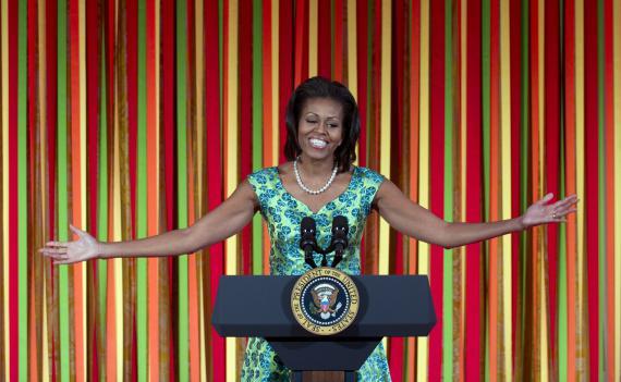 """Michelle Obama lors du """"Diner d'Etat"""" des enfants à la Maison Blanche, le 20 août 2012."""