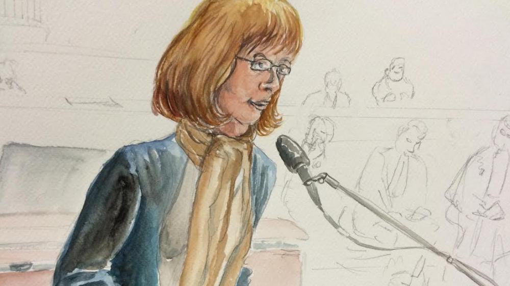 """""""Jade"""", ex-prostituée de l'affaire du Carlton, à la barre du tribunal correctionnel de Lille, mardi 4 février 2015."""