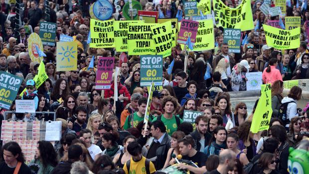 La marche pour le climatd'Athènes (Grèce), le 29 novembre 2015.