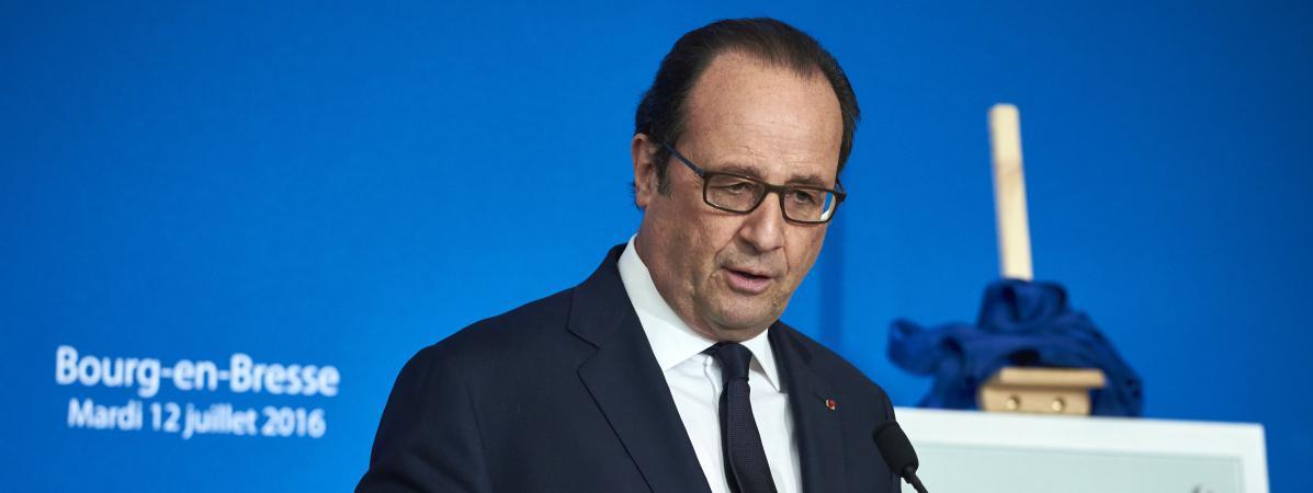 Le président de la République François Hollande lors d'un discours à Bourg-en-Bresse (Ain), le 12 juillet 2016.