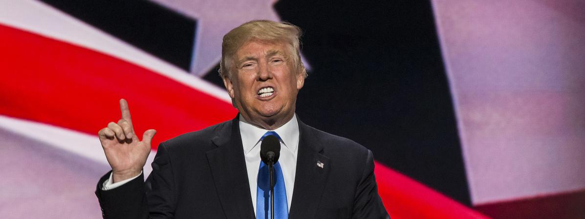 Donald Trump prononce un discours lors de la convention républicaine à Cleveland (Ohio, Etats-Unis), le 18 juillet 2016.