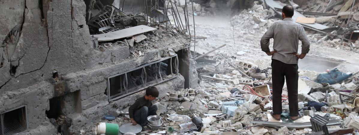 Douma, ville tenue par les rebelles à l'est de Damas, le 3 octobre.