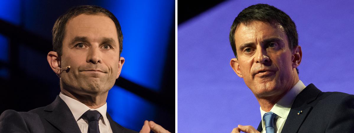 Les deux finalistes de la primaire de la gauche pour la présidentielle de 2017, Benoît Hamon et Manuel Valls.