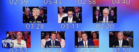 """Le décompte des temps de parole des onze candidats à la présidentielle, lors de l\'émission \""""Le Grand débat\"""" sur CNews et BFMTV, mardi 4 avril 2017."""