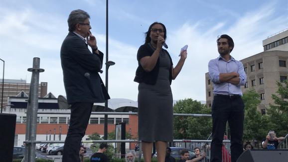 Jean-Luc Mélenchon, Farida Amrani et Ulysse Rabaté à Evry (Essonne), le 29 mai 2017.