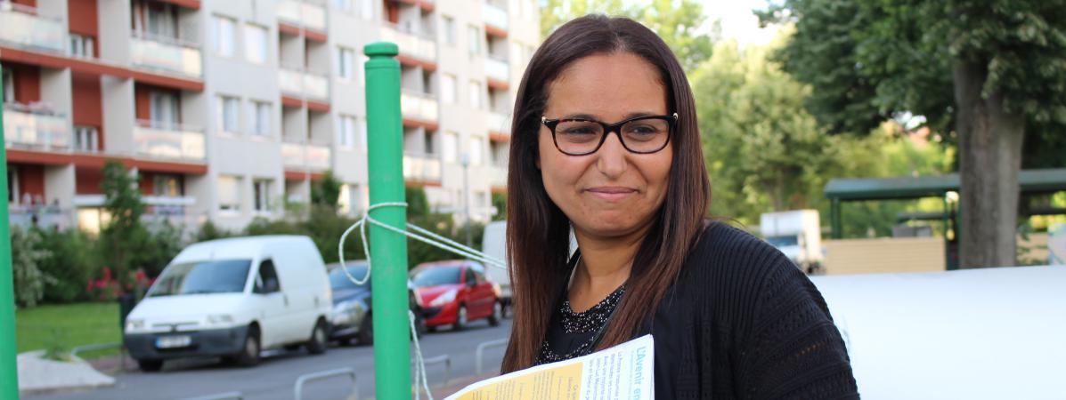 Farida Amrani, candidate de la France insoumise à Corbeil-Essonnes (Essonne), le 30 mai 2017.